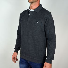 Polo homme molletonné anthracite