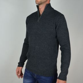 Pull homme col zippé anthracite