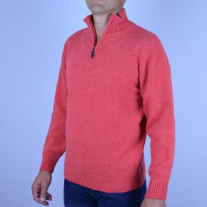 Pull homme laine col camionneur corail