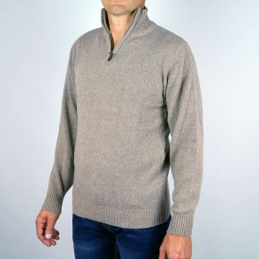 Pull homme col camionneur beige