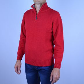 Pull laine homme col camionneur rouge