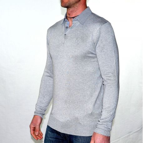 Gris Jeans Traxx Pull T Homme Col Gg Chemise wOPXTkZiul