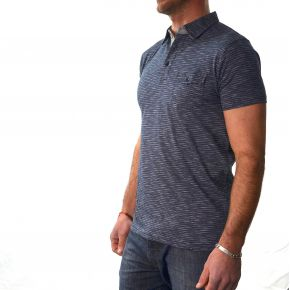 Polo homme T-Traxx manches courtes bleu marine rayures blanches