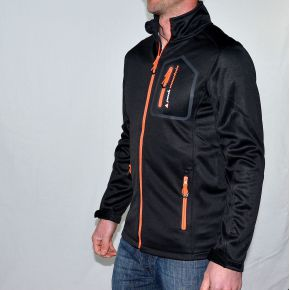 Blouson polarshell homme Peak Mountain noir zip orange