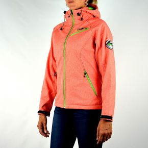 Veste softshell femme Geographical Norway corail zips anis