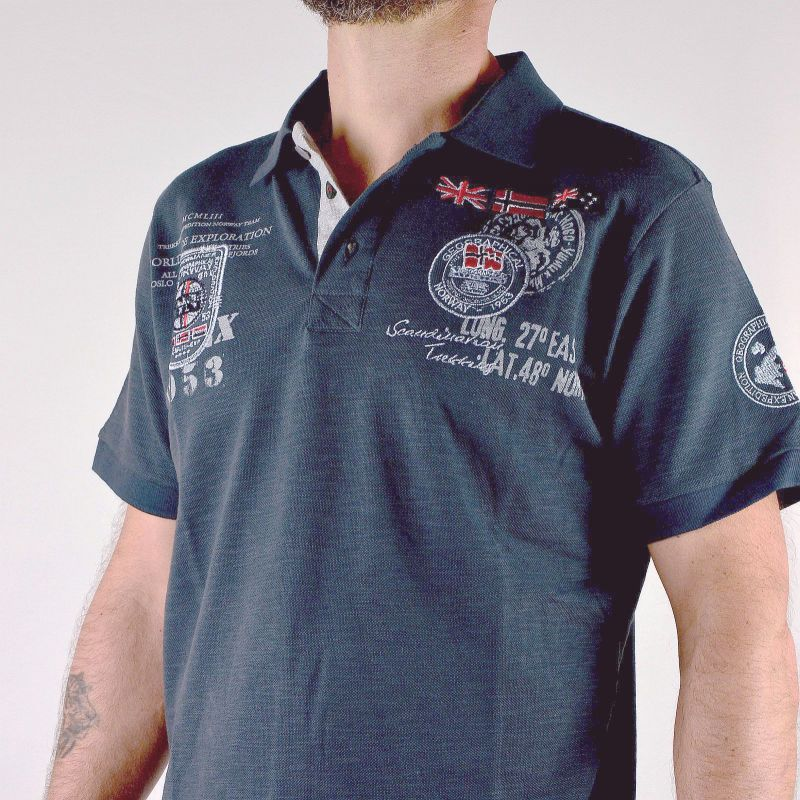 Polo Explorateur homme Geographical Norway gris