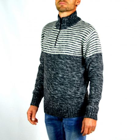 Pull homme T-Traxx à rayures gris chiné