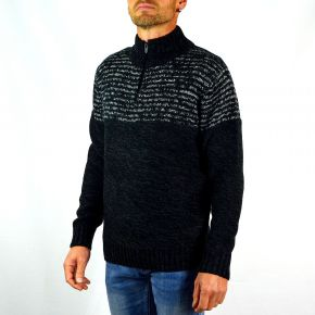 Pull homme T-Traxx à rayures noir chiné