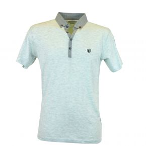 Polo homme T-Traxx manches courtes col demi-ouvert gris clair