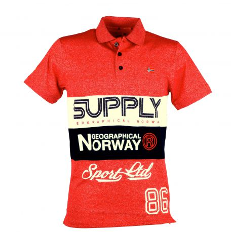 Polo homme manches courtes Geographical Norway Kachie rouge