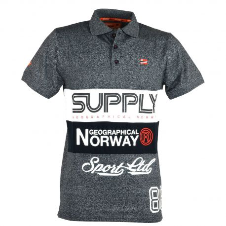 Geographical Norway - Polo Manches Courtes Karchie Gris Anthracite Chiné aFcPASLDQ