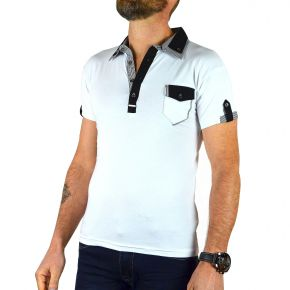 Polo homme manches courtes double col Enzo Di Capri blanc