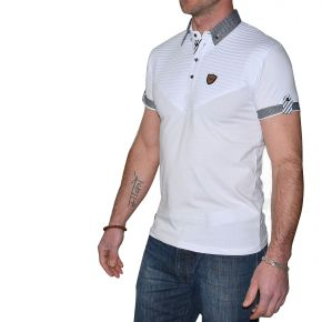 Polo slim homme Maxway blanc manches courtes col rayé