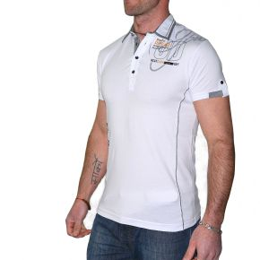 Polo mode homme Maxway blanc manches courtes