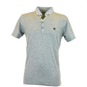 Polo homme T-Traxx manches courtes col demi-ouvert gris