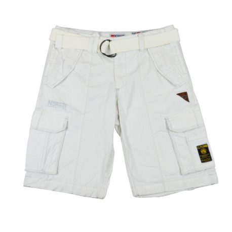 Short bermuda homme Geographical Norway blanc avec ceinture