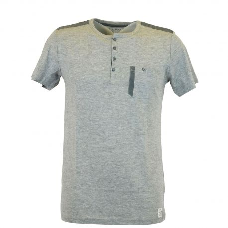 00140cd24843 Tee shirt homme T-Traxx col tunisien gris - GG Jeans